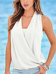 Damen Patchwork Sexy Lässig/Alltäglich T-shirt,V-Ausschnitt Sommer Ärmellos Rosa / Weiß / Grün Polyester Dünn