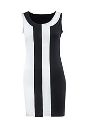 Mulheres Evasê Vestido,Casual / Tamanhos Grandes Simples / Moda de Rua Listrado Decote Redondo Acima do Joelho Sem Manga PretoAlgodão /