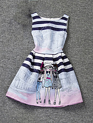 Girl's Pink Dress,Cartoon Polyester Summer