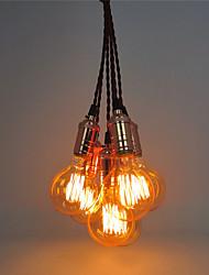 6 cabezas luces colgantes de cobre retro, con la base ligera del interruptor de DIY arte salón comedor / entrada / pasillo