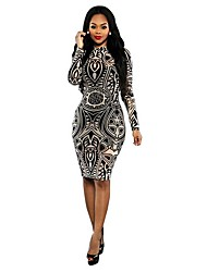 Cosplay Classic & Traditional Totems Retro Long Sleeve Medium Length Terylene Tight Dress