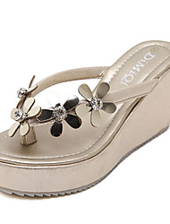 Women's Shoes Leatherette Wedge Heel Flip Flops Sandals Dress Black / White / Silver / Gold