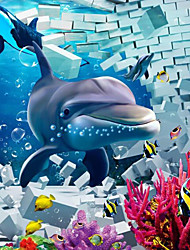 JAMMORY 3D Wallpaper For Home Contemporary Wall Covering Canvas Material Dolphin World3XL(14'7''*9'2'')