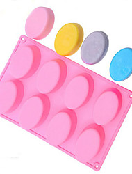 8-Cavity Oval Soap Mold Silicone Chocolate Mould Tray Homemade Muffin Making(Random Color)