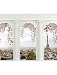 Shinny Leather Effect Large Mural Wallpaper 3D Arch City Landscape Art Wall Decor