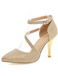 Серебристый / Золотистый-Женская обувь-Свадьба / Для праздника-Дерматин-На шпильке-На каблуках / С острым носком-Обувь на каблуках