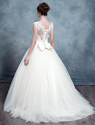A-line Wedding Dress Sweep / Brush Train Queen Anne Lace / Tulle with Appliques / Beading / Bow / Lace / Sequin