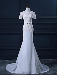 Trumpet / Mermaid Wedding Dress Sweep / Brush Train Bateau Chiffon / Lace with Appliques / Button / Sash / Ribbon