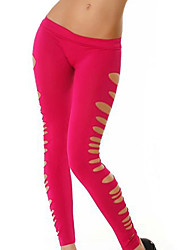 Women's Cut Out  Solid Color Shredded Legging,Polyester Spandex Medium