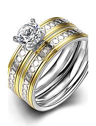 Ringe,Stahl Kubikzirkonia Runde Form Modisch Hochzeit / Party / Alltag / Normal Schmuck Damen Eheringe 1 Set Silber