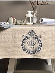 Royal Crown Pattern Table Cloth Fashion Hotsale High-grade Cotton Linen Square Coffee Table Cloth Cover Towel