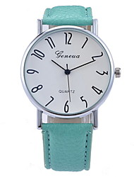 Women's Fashionable  Leisure Geneva Digital Dial Blue Glass Quartz Watch Leather Band Cool Watches Unique Watches Strap Watch