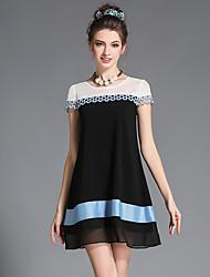 festa de tamanho mais elegante resto bordados rendas oco patchwork stripe print chiffon das mulheres aofuli / vestido diária