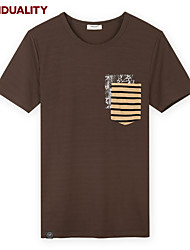 Trenduality® Heren Ronde hals Korte mouw T-shirt Beige-43232