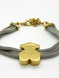 Bear Clasp Triple Stainless Steel Wire Bracelet