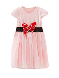 Girl's Black / Pink Dress,Bow Cotton Summer