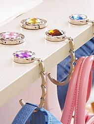 Fashion Rhinestone Bag Keeper Folded Purse Bag Holder Metal Hangbag Hook(Random Color)