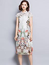 De las mujeres Vaina Vestido Vintage Floral Midi Escote Chino Poliéster