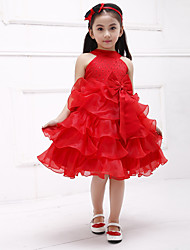 A-line Knee-length Flower Girl Dress - Cotton Organza Satin Halter with Bow(s) Sash / Ribbon