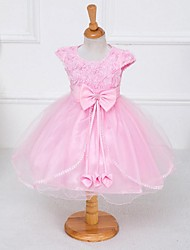 A-line Knee-length Flower Girl Dress - Organza / Stretch Satin Short Sleeve Jewel with