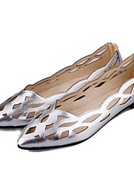 Women's Shoes Leatherette Flat Heel Comfort Flats Outdoor / Casual White / Silver