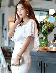 DABUWAWA® Women's Round Neck Short Sleeve Shirt & Blouse White / Light Blue-D15BST059