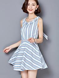 Women's Cute Striped A Line / Chiffon Dress,V Neck Mini Polyester