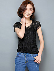 2016 Summer New Women Slim Lace T-shirt,V Neck Short Sleeve