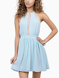 Women's Casual/Daily / Plus Size Sexy Sheath Dress,Solid Halter Mini Sleeveless Blue / White / Purple Polyester Summer