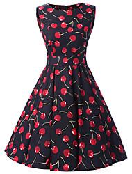Women's Black Cherry Print Floral Dress , Vintage Sleeveless 50s Rockabilly Swing Dress