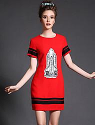 aofuli mais mulheres do tamanho de moda da cor do vintage da cópia de bloco de manga curta partido magra / vestido diária