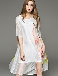 Mulheres Vestido Solto Vintage / Simples Estampado Assimétrico Decote Redondo Seda / Poliéster