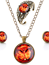 Lureme® Time Gem Series Vintage Burning Bird Pendant Necklace Stud Earrings Hollow Flower Bangle Jewelry Sets