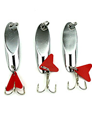Hengjia 5pcs Miter Spoon Metal Fishing Lures 55mm 21g Spinner Baits Random Colors