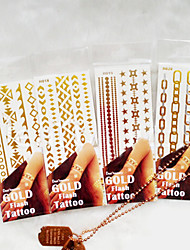 High-end Jewelry Metal Waterproof Flower Arm PVC Bronzing Tattoo Airbrush Tattoo Stencils