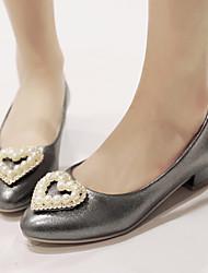Zapatos de mujer-Tacón Bajo-Puntiagudos-Tacones-Oficina y Trabajo / Vestido / Casual-Semicuero-Rosa / Blanco / Gris / Beige