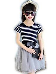 Girl's Black / Red Dress,Striped Cotton Summer