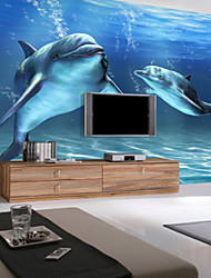 3D Shinny Leather Effect Large Mural Wallpaper Ocean And Dolphin Art Wall Decor for Tv Sofa Background Wall