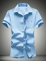 Men's Solid Casual Shirt,Cotton Short Sleeve