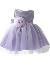 Big Bow Flower Aline Purple Dress