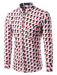 Men's Print Casual / Plus Sizes Shirt,Cotton Long Sleeve Red