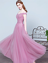 Formal Evening Dress Ball Gown Off-the-shoulder Floor-length Tulle with Side Draping