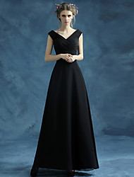 Ankle-length Organza / Satin Bridesmaid Dress-Black A-line V-neck