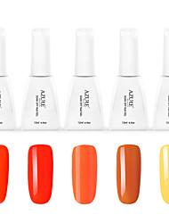 Azure Beauty Orange Boom Series Orange 5Pcs Color Charming DIY Design Nail Art Salon Design Gel Polish