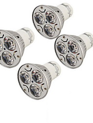 YouOKLight® 4PCS GU10 3W 200LM 3000/6000K  White/ Warm White 3-LED Spot Light Bulb - Silver + White (AC85~265V)