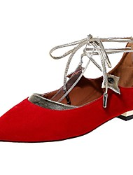 Women's Shoes Low Heel Ankle Strap / Pointed Toe Flats Office & Career / Dress / Casual Black / Blue / Red