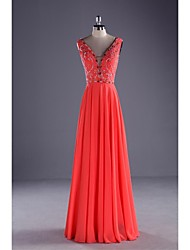 Formal Evening Dress-Watermelon Ball Gown V-neck Chiffon / Charmeuse