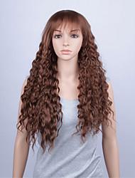 pelucas del frente del cordón pelucas sintéticas de la manera 28inch suelta la onda del pelo a prueba de calor marrón pelucas de las