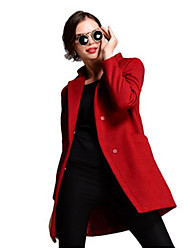 Women's Solid Red Pea Coats,Simple Long Sleeve Nylon