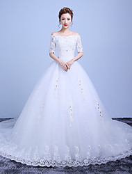 Ball Gown Wedding Dress-Ruby / White Chapel Train Off-the-shoulder Lace / Satin / Tulle